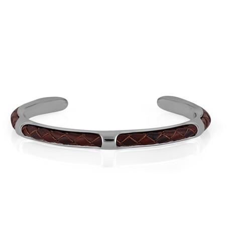 Cuffed Bracelet // Silver + Red