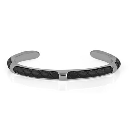 Cuffed Bracelet // Black + Silver