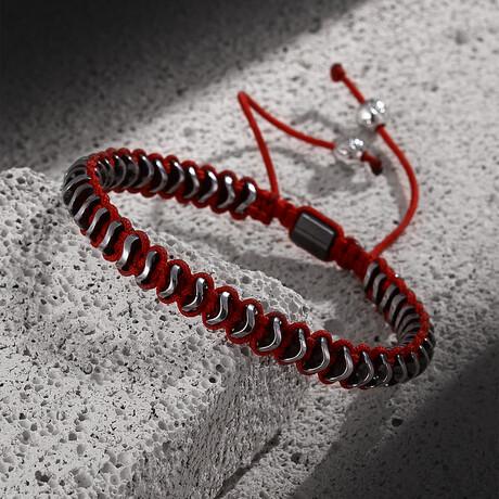 Hematite Stone Bracelet // Red + Silver