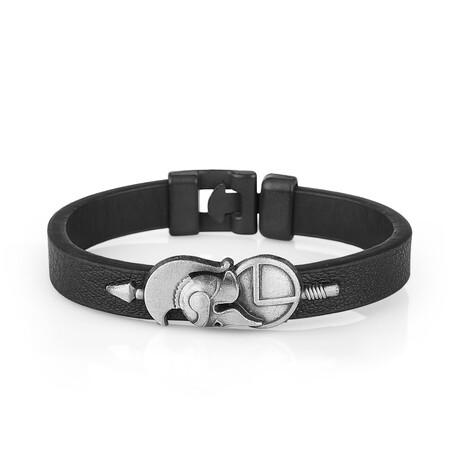 Corinthian Helmet Bracelet // Black + Silver