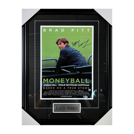 Moneyball // Aaron Sorkin // Framed Autographed Poster