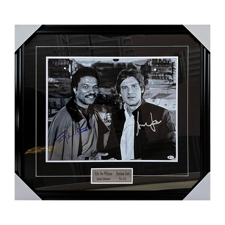 Billy Dee Williams + Harrison Ford // Framed + Autographed Photo