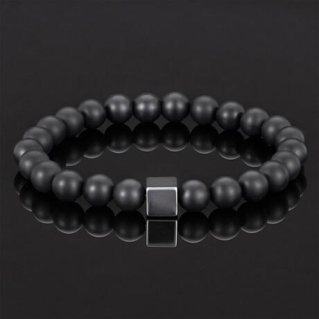 Hematite Cube + Onyx Beads Stretch Bracelet // 8mm (Polished Black Onyx)