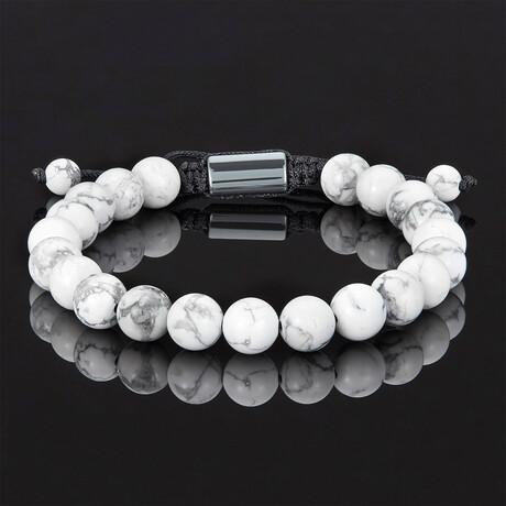 Natural Stone Beads Adjustable Cord Tie Bracelet // 8mm (Howlite)