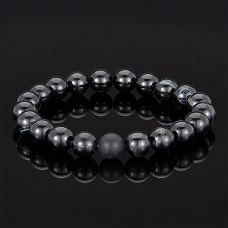 Crucible Agate + Black Matte Onyx Bead Stretch Bracelet // 10mm (Light Gray Matte Agate)