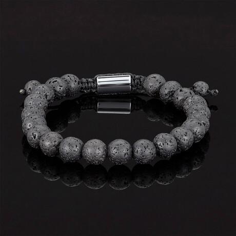 Lava Natural Stone Beads Adjustable Cord Tie Bracelet // 8mm