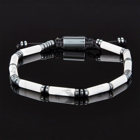 Hematite + Tube Stone Bead Adjustable Cord Tie Bracelet (Polished Black Onyx)