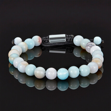 Marbled Natural Stone Adjustable Cord Tie Bracelet // 8mm (Crazy Lace Agate)