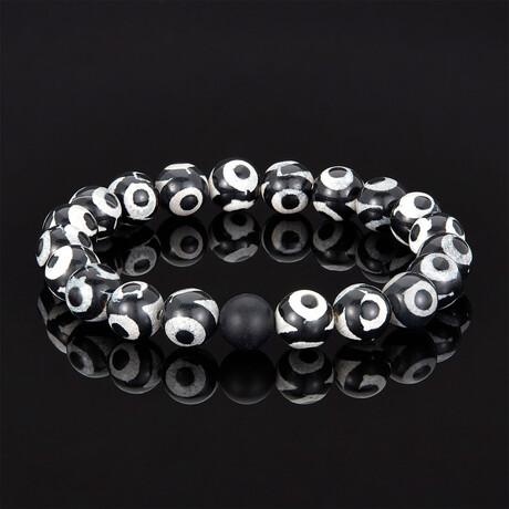 Crucible Black + White Eye Agate + Black Matte Onyx Stretch Bracelet // 10mm