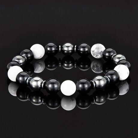 Shiny Onyx + Magnetic Hematite Beaded Bracelet // 10mm (Turquoise)
