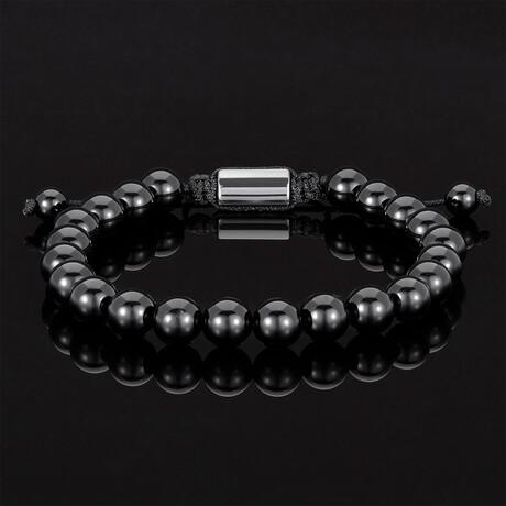 Adjustable Cord Tie Bracelet // 8mm (Polished Black Onyx)