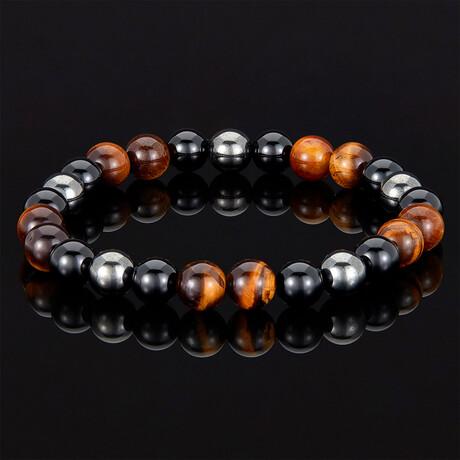Tiger Eye + Shiny Onyx + Magnetic Hematite Bracelet // 8mm (Brown Tiger Eye)