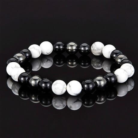 Shiny Onyx + Magnetic Hematite Beaded Bracelet // 8mm (Turquoise)