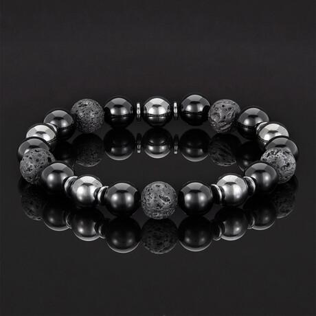 Lava + Shiny Onyx + Magnetic Hematite Bracelet // 10mm