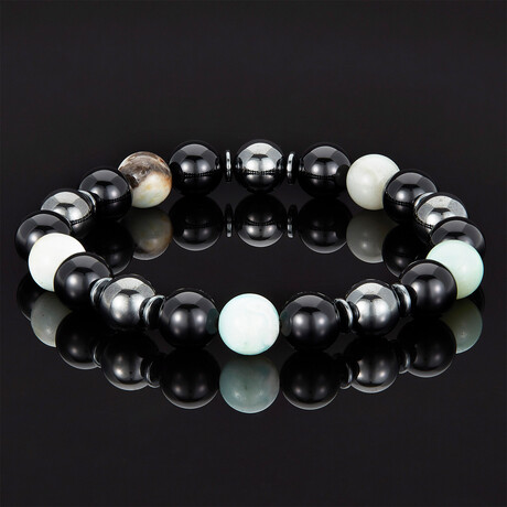 Natural Stone + Shiny Onyx + Magnetic Hematite // 10mm (Amazonite)
