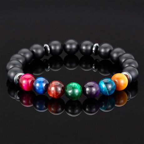 Crucible Multi-Tiger Eye + Matte Onyx Bead Stretch Bracelet // 10mm (Small)