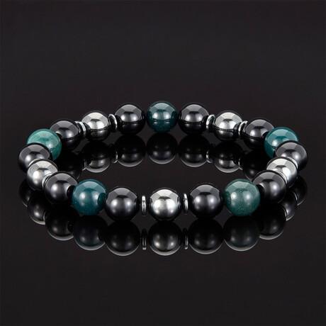 Marbled Stone Beaded Bracelet // 10mm (Sodalite)