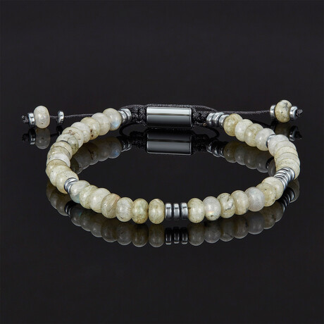 Rondelle Beads + Hematite Disc Beads Adjustable Cord Tie Bracelet (Picture Jasper Stone)