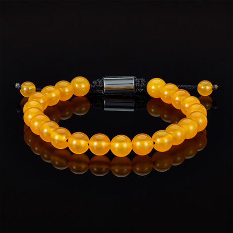 Agate Beads Adjustable Cord Tie Bracelet // 8mm (Yellow Agate)