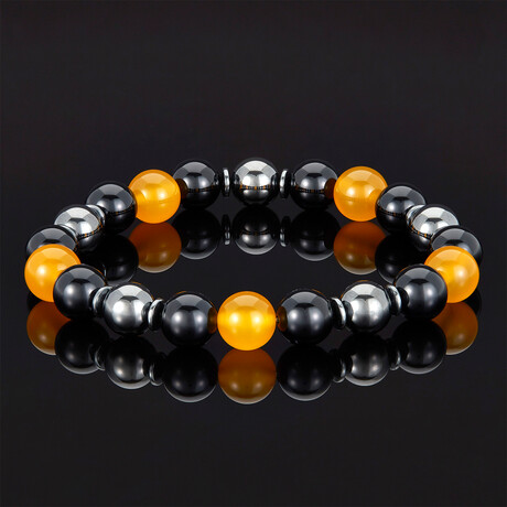 Agate + Shiny Onyx + Magnetic Hematite // 10mm (Yellow Agate)