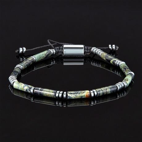 Hematite + Marbled Tube Stone Bead Adjustable Cord Tie Bracelet (Map Jasper Tube)