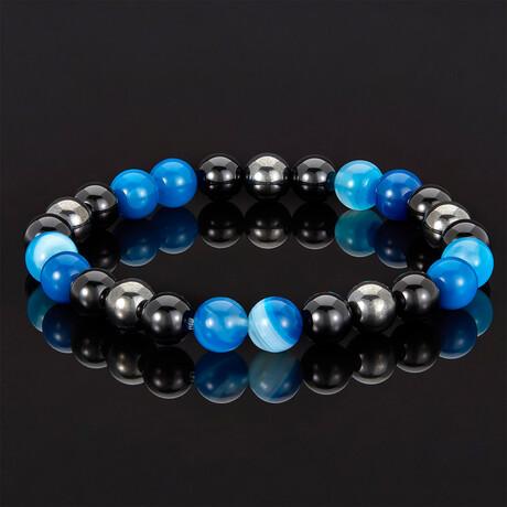 Banded Agate + Shiny Onyx + Magnetic Hematite Bracelet // 8mm