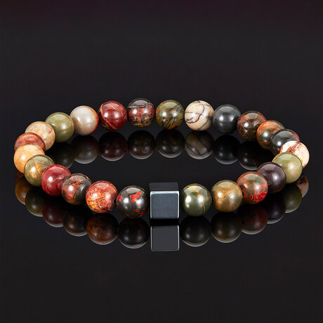 Hematite Cube + Picasso Jasper Beads Stretch Bracelet // 8mm
