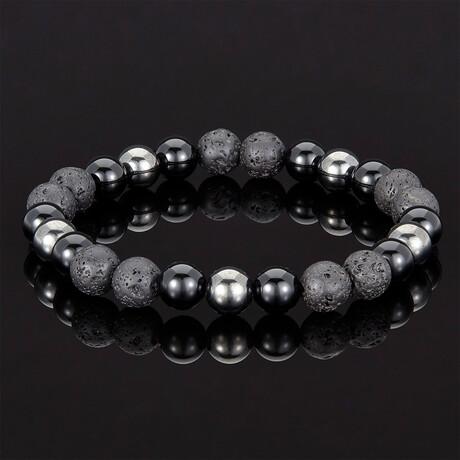 Lava + Shiny Onyx + Magnetic Hematite Bracelet // 8mm