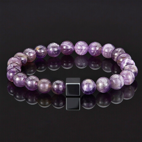 Hematite Cube + Stone Beads Stretch Bracelet // 8mm (Amethyst)
