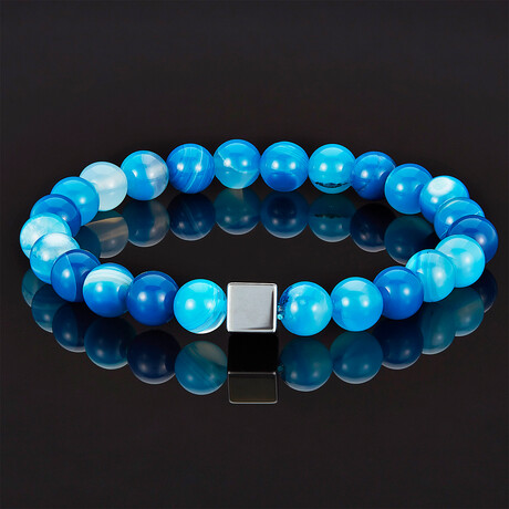Hematite Cube + Blue Banded Agate Beads Stretch Bracelet // 8mm