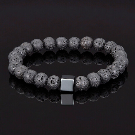 Hematite Cube + Lava Beads Stretch Bracelet // 8mm