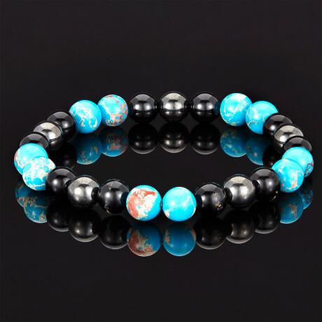 Imperial Jasper + Shiny Onyx + Magnetic Hematite Bracelet // 8mm