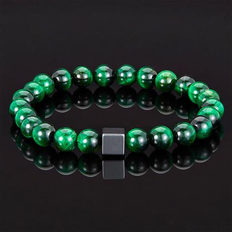 Hematite Cube + Tiger Eye Beads Stretch Bracelet // 8mm (Green Tiger Eye)