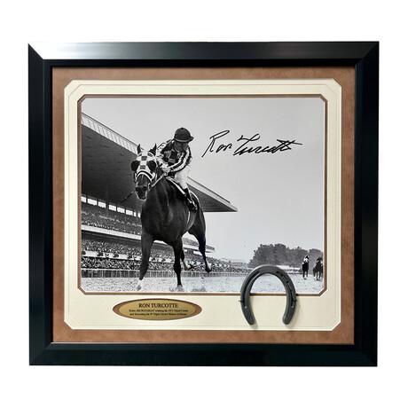 """Ron Turcotte Signed """"Secretariat"""" Far Away Belmont Photo // Framed"""