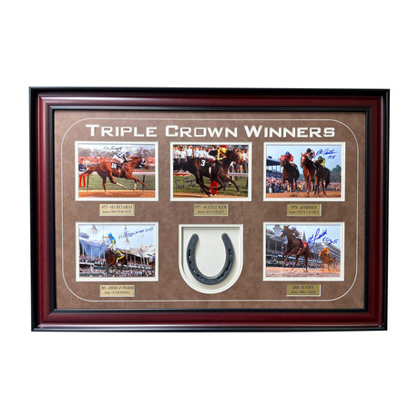 Triple Crown Winners Signed Horse Shoe Collage // Framed