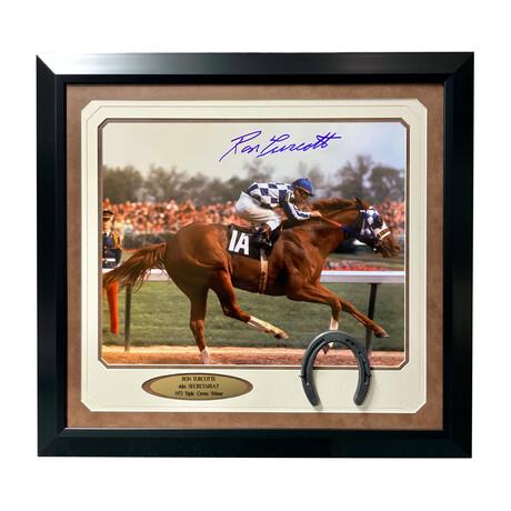 """Ron Turcotte Signed """"Secretariat"""" Color Photo // Framed"""