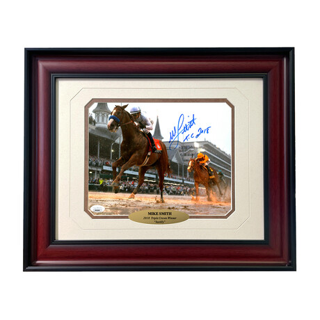 """Mike Smith Signed """"Justify"""" Photo // Framed"""