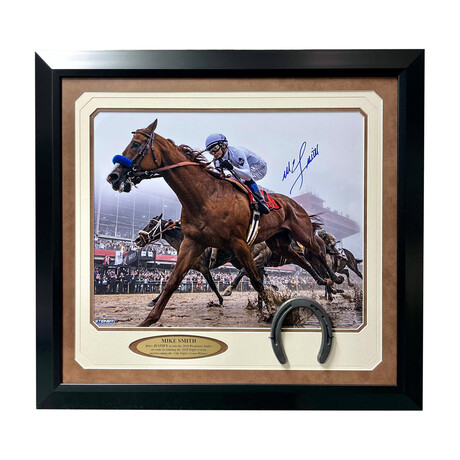 """Mike Smith Signed """"Justify"""" Preakness Stakes Photo // Framed"""