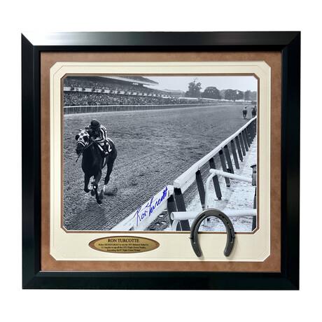 "Ron Turcotte Signed ""Secretariat"" Close Up Belmont Photo // Framed"