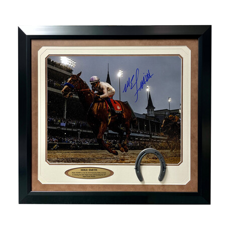 """Mike Smith Signed """"Justify"""" Kentucky Derby Photo // Framed"""