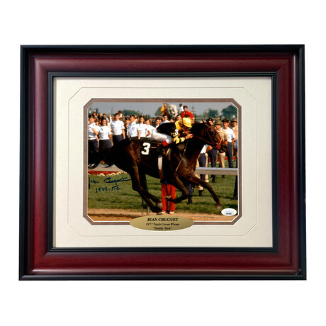 """Jean Cruguet Signed """"Seattle Slew"""" Photo // Framed"""