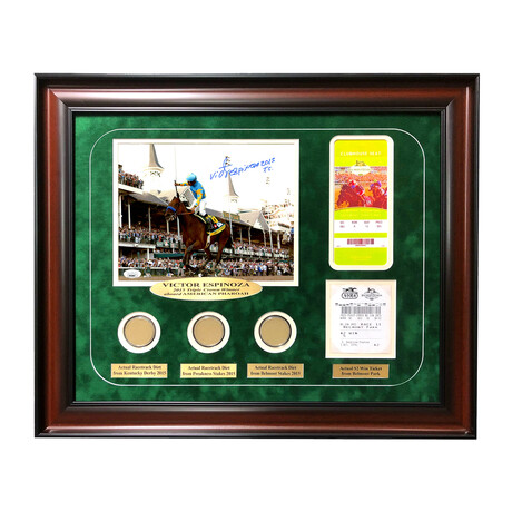 """Victor Espinoza Signed """"American Pharoh"""" Photo // Framed + Race Used Dirt"""