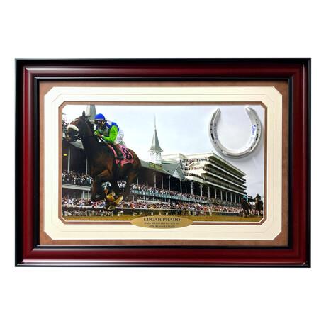 "Edgar Prado Signed ""Barbaro"" Horse Shoe // Framed Collage"