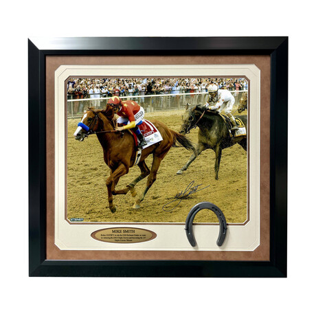 """Mike Smith Signed """"Justify"""" Belmont Stakes Photo // Framed"""