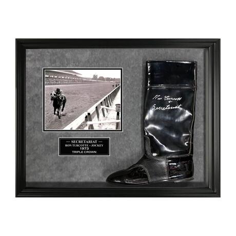 Secretariat // Ron Turcotte // Framed + Signed Boot