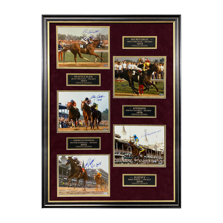 Secretariat, Seattle Slew, Affirmed, American Pharoah & Justify // Ron Turcotte, Jean Cruguet, Steve Cauthen, Victor Espinoza & Mike Smith // Framed + Signed Photographs