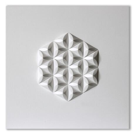 """Crisp Abstract Wall Sculpture // Cre 3 (15.75""""W x 15.75""""H x 2""""D)"""