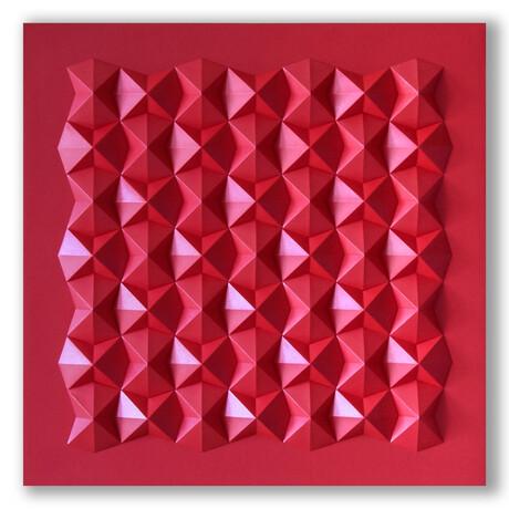 Crisp Abstract Wall Sculpture // Interlock Tetra I Red