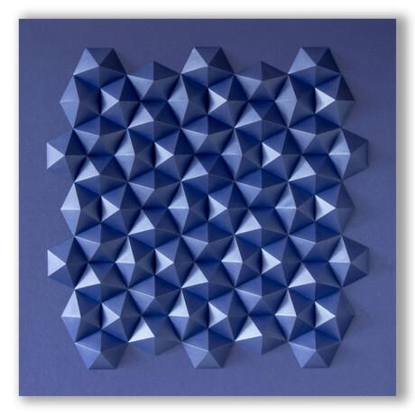 Crisp Abstract Wall Sculpture // Interlock Penta I Blue
