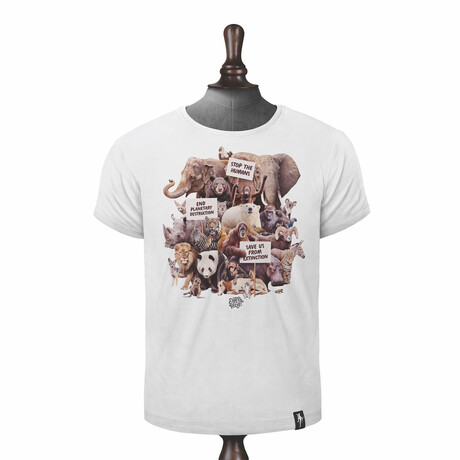 Animal Activists T-shirt // Vintage White (XS)
